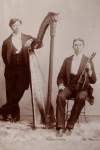Large Format Cabinet Card of  two young men with harp and mandolin,  c. 1890 - 1900