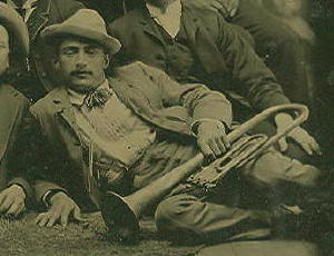 Tintype, Gents, One w/ Brass Horn, c.1880's