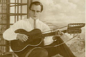 RPPC, Film: Harry Piel w/ Harp Guitar, 1920's