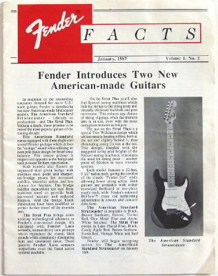 Fender Facts by Fender Musical Instrument Corp..  Newsletter with The American Standard Stratocaster on cover (1987)