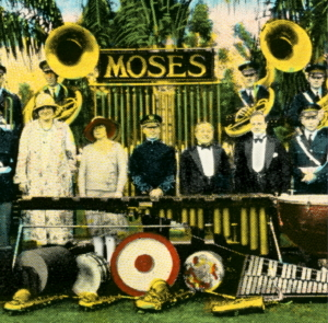 Photographic Postcard of  the Moses Brass Band in Williams Park,  c. 1920's
