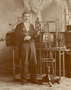 Cabinet Card of  a Concert Musician with an Elaborate One-Man-Band Rig,  c. 1896
