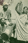 Photographic Postcard of  a Kling Dancer and Musicians (1908)