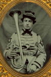 Ambrotype of  a Militia Regimental Band Musician with an Over-The-Shoulder Horn,  c. late 1850's