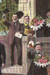 Lithographic Postcard of  men celebrating with beer, flowers and a band (1923)