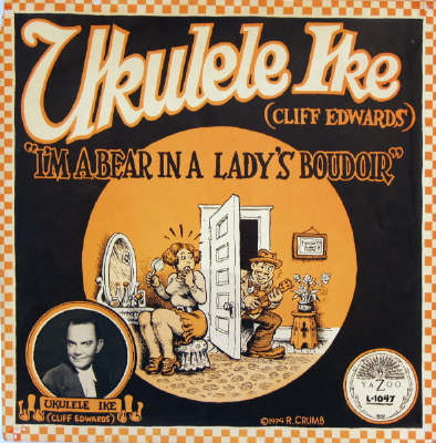Album Slick of  R. Crumb drawn cover for Ukelele Ike's I'm a Bear in a Lady's Boudoir (1974)