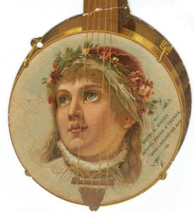 Trade Card: Die-Cut Banjo w/ Girl's Face 1887